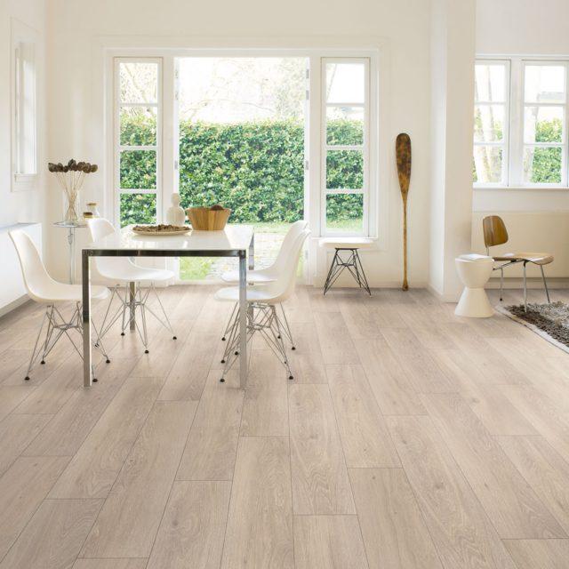 Light Vinyl Wooden Flooring in White Living Space