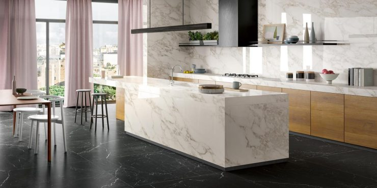 Ergonomic kitchens - Zero.3 porcelain tiles by Panaria